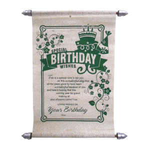 Green birthday scroll